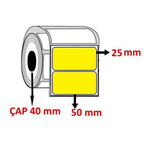 Sarı Renkli 50 mm x 25 mm Barkod Etiketi ÇAP 40 mm ( 6 Rulo ) 10.500 ADET