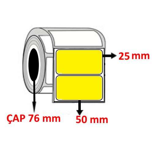 Sarı Renkli 50 mm x 25 mm Barkod Etiketi ÇAP 76 mm ( 6 Rulo ) 30.000  ADET