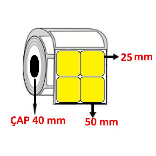 Sarı Renkli 50 mm x 25 mm YY2 Lİ Barkod Etiketi ÇAP 40 mm ( 6 Rulo ) 18.000 ADET