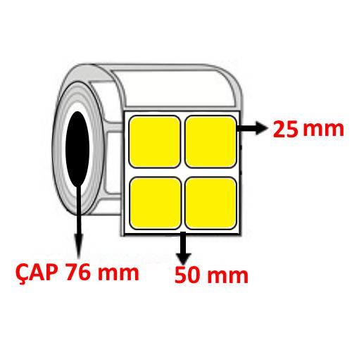 Sarı Renkli 50 mm x 25 mm YY2 Lİ Barkod Etiketi ÇAP 76 mm ( 6 Rulo )