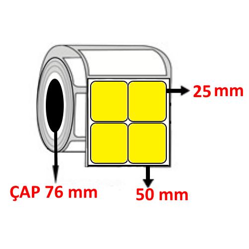 Sarı Renkli 50 mm x 25 mm YY2 Lİ Barkod Etiketi ÇAP 76 mm ( 6 Rulo ) 60.000  ADET