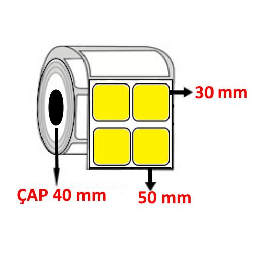 Sarı Renkli 50 mm x 30 mm YY2 Lİ Barkod Etiketi ÇAP 40 mm ( 6 Rulo )