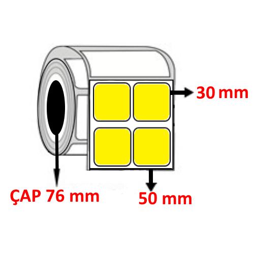 Sarı Renkli 50 mm x 30 mm YY2 Lİ Barkod Etiketi ÇAP 76 mm ( 6 Rulo )