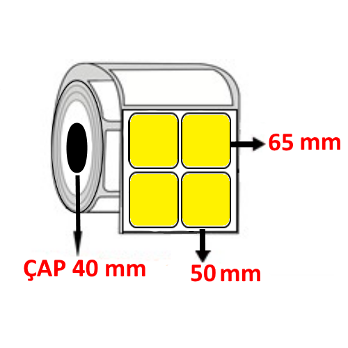 Sarı Renkli 50 mm x 65 mm YY2 Lİ Barkod Etiketi ÇAP 40 mm ( 6 Rulo ) 9.000  ADET