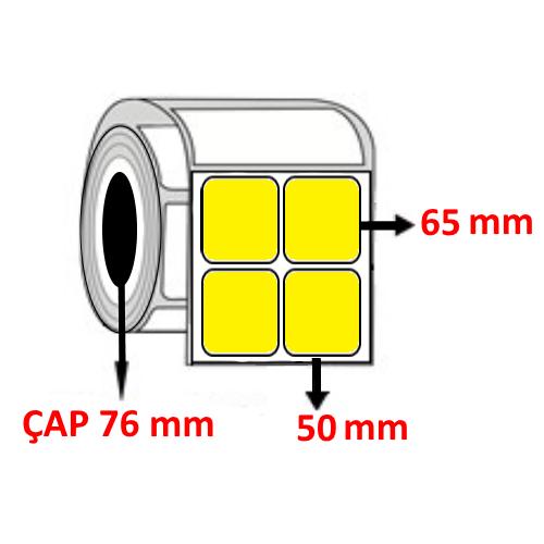 Sarı Renkli 50 mm x 65 mm YY2 Lİ Barkod Etiketi ÇAP 76 mm ( 6 Rulo ) 24.000 ADET