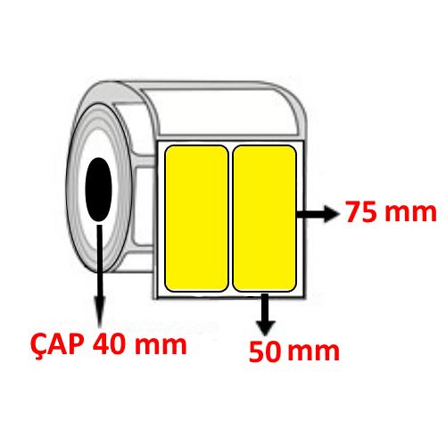 Sarı Renkli 50 mm x 75 mm YY2 Lİ Barkod Etiketi ÇAP 40 mm ( 6 Rulo )