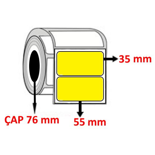 Sarı Renkli 55 mm x 35 mm Barkod Etiketi ÇAP 76 mm ( 6 Rulo )