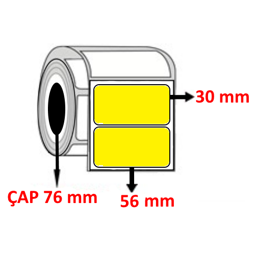 Sarı Renkli 56 mm x 30 mm Barkod Etiketi ÇAP 76 mm ( 6 Rulo ) 30.000  ADET