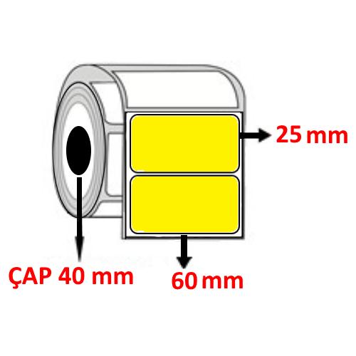Sarı Renkli 60 mm x 25 mm Barkod Etiketi ÇAP 40 mm ( 6 Rulo )