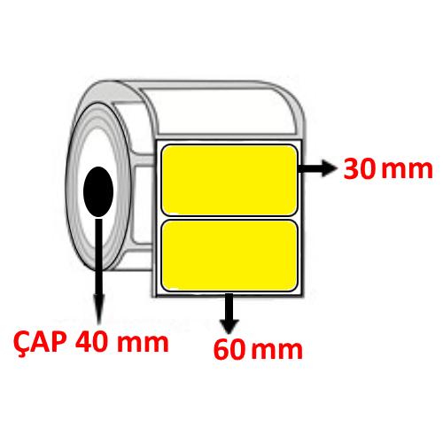 Sarı Renkli 60 mm x 30 mm Barkod Etiketi ÇAP 40 mm ( 6 Rulo ) 9.000  ADET