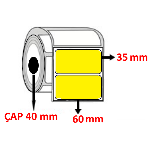 Sarı Renkli 60 mm x 35 mm Barkod Etiketi ÇAP 40 mm ( 6 Rulo )