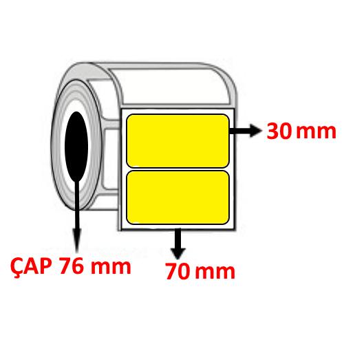 Sarı Renkli 70 mm x 30 mm Barkod Etiketi ÇAP 76 mm ( 6 Rulo )