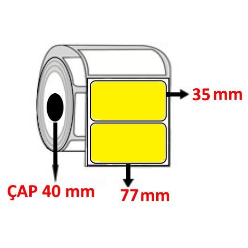 Sarı Renkli 77 mm x 35 mm Barkod Etiketi ÇAP 40 mm ( 6 Rulo )