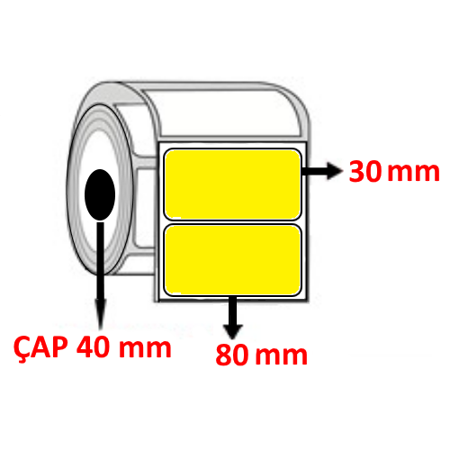 Sarı Renkli 80 mm x 30 mm Barkod Etiketi ÇAP 40 mm ( 6 Rulo ) 9.000  ADET