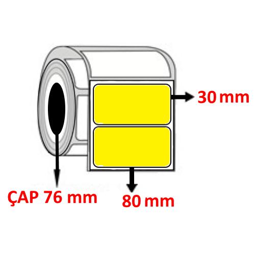Sarı Renkli 80 mm x 30 mm Barkod Etiketi ÇAP 76 mm ( 6 Rulo ) 27.000 ADET