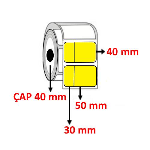 Sarı Renkli 80 mm x 40 mm (30/50) Barkod Etiketi ÇAP 40 mm ( 6 Rulo )