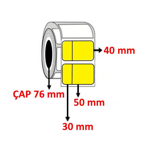 Sarı Renkli 80 mm x 40 mm (30/50) Barkod Etiketi ÇAP 76 mm ( 6 Rulo )