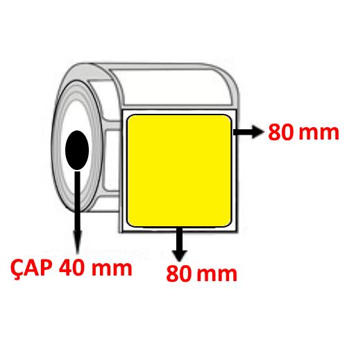 Sarı Renkli 80 mm x 80 mm Barkod Etiketi ÇAP 40 mm ( 6 Rulo )